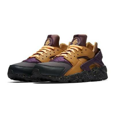 newest 2b16a 895aa NIKE AIR HUARACHE Run PRM Anthracite/Pro Purple/Elemental Gold 704830 012  Sz 10