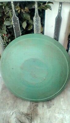 Early Primitive Wooden Hand Turned Bowl Old Green Paint