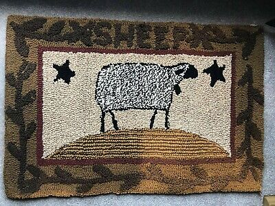 Adorable Primitive SHEEP Hooked Rug or Wall Hanging