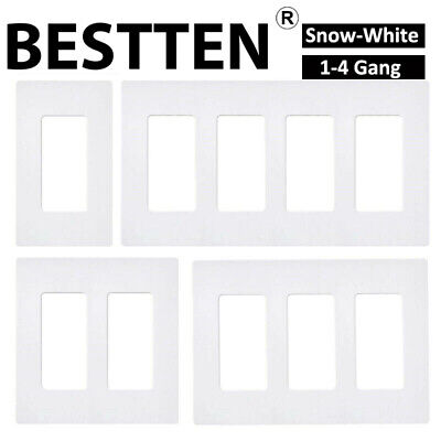 10 Pack Screwless Wallplate 1-4 Gang White Switch Plate Outlet Cover Unbreakable