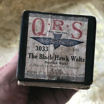 "QRS Player Piano Roll B. B. Ballads ""The Black Hawk Waltz"" No.3033 G. Condition!"