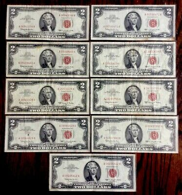 Lot of 9 - 1963 US Two Dollar Bills (Red Seal) #7 High Grade