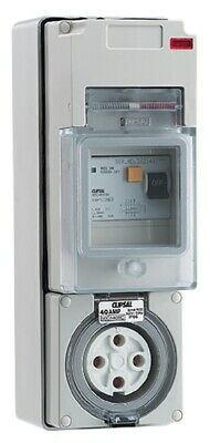 Clipsal 56-SERIES SWITCHED SOCKET WITH RCD 500V 40A 4-Round Pin, Grey*Aust Brand