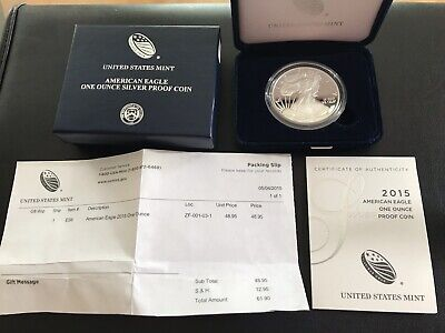 2015 American Silver Eagle PROOF Coin 1 TROY OZ with Box and COA - BU