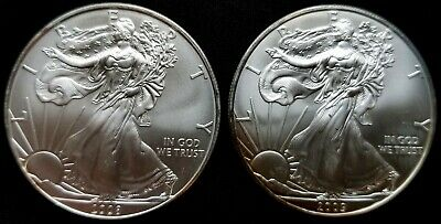 2008 2009  One Dollar SILVER AMERICAN EAGLE Coins 2 Troy Ounce .999 L@@K!