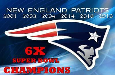 (2) New England Patriots 6X Super Bowl Champions Vinyl Stickers Car Decal 5x3.5