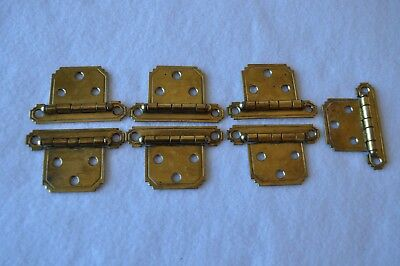 Seven (7) Art Deco NOS Vintage Brass Cabinet Hinges, circa 1930s-early 1940s