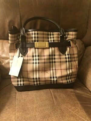 fd5d75a7fe2 NWT Burberry Bag 100% Authentic Brown Leather Medium Haymarket Golderton  Tote