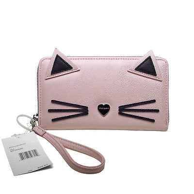 BETSEY JOHNSON Pink & Black Zip Around Kitty Cat Kitten Face Wallet Wristlet NWT