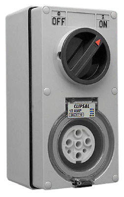 Clipsal VERTICAL SWITCHED SOCKET 500V 7-Pin 3-Poles, Grey*Aust Brand- 10A Or 20A