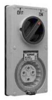 Clipsal VERTICAL SWITCHED SOCKET 500V 4-Pin 3-Pole Less Enclosure Grey-20A Or32A
