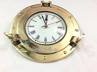 Antique Brass Porthole Wall Clock Vintage Nautical Collectible Home Decor Clock