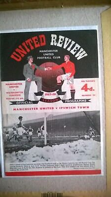 1958 MANCHESTER UNITED v WOLVES - POSTPONED BECAUSE OF THE MUNICH AIR DISASTER