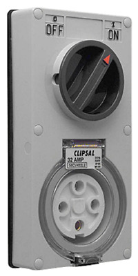 Clipsal SWITCHED SOCKET OUTLET 500V 4-Pin 3-Pole,Less Enclosure,Orange-32A Or40A