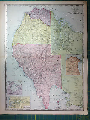 Australia - Original Vintage 1898 Antique Large Folio Rand McNally World Atlas