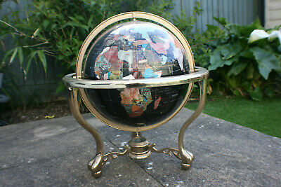 "19"" Tall Large Semi-Precious Stone World Globe on Brass Stand with Compass"