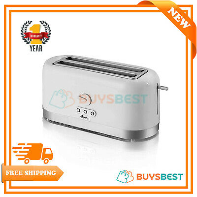 Swan 4 Slice Long Slot Toaster With Browning Control In White - ST10091N