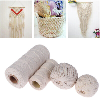 100% Natural Beige Cotton Twisted Cord Craft DIY Macrame Artisan String Hot Sale