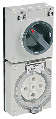 Clipsal SWITCHED SOCKET OUTLET 500V 50A 5-Pins 3-Poles Less Enclosure, White