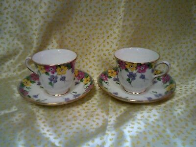 Two Vintage Plant Tuscan English China Cup and Saucer - Floral Decoration c5295