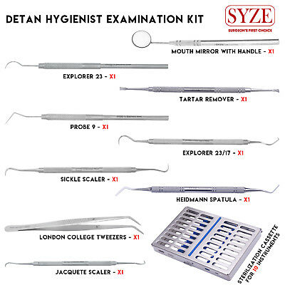 Dental Hygienist Examination 10 Pcs Kit Periodontal Dental Scalers with Cassette