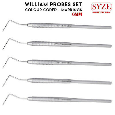 5X Periodontal William Probes 0.02 mm Pocket Depth Colour Coded Dental Tool SYZE