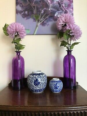 Chinese collectible Large Ginger pot/vase white blue+ small pot