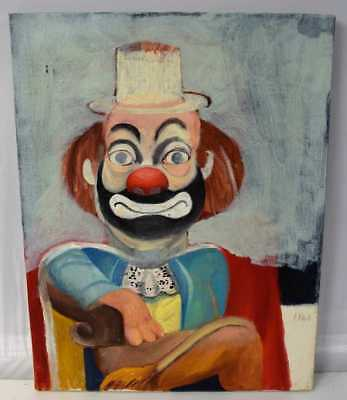 Red Skelton Clown Painting, Oil on Canvas