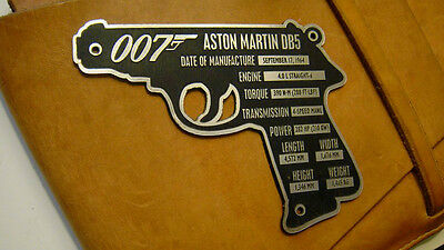 Custom Aston Martin Db5 Serial Data Specifications Plate James Bond 007 Car