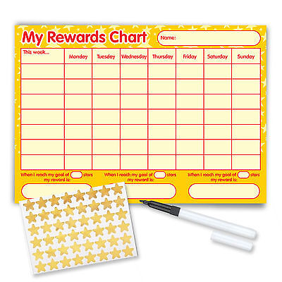 Re-usable Behaviour Reward Chart (incl FREE Stickers & Pen) - Yellow Stars