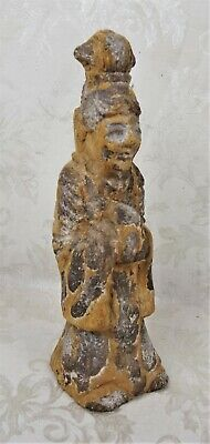 Rare Antique Carved Stone Buddha Kwan-yin Standing Figure Statue 11.5""