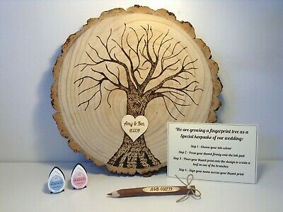 Wood Slice Fingerprint Tree Wedding Guestbook, Ink & Twig Pen Set - Rustic Gift