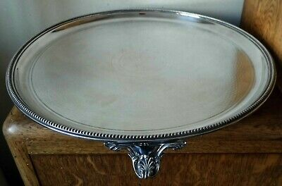 VINTAGE 1920-30s SHEFFIELD SILVER PLATED Engine Turned CIRCLAR TRAY 3 Shell Feet