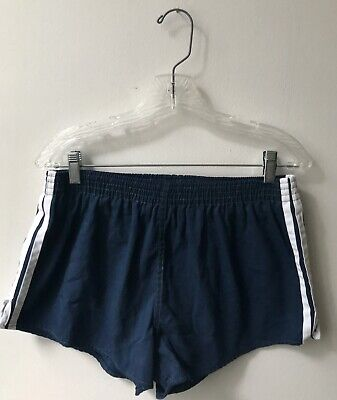 VINTAGE 1970'S 1980'S Navy SOCCER SHORTS ADIDAS Made in USA Size 32