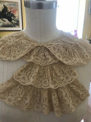 French 1900's Lace Collar~Jabot Ecru Macentosh Deco Rose Pattern Net LG Linen