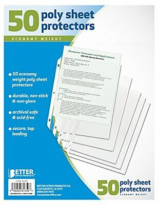 50 Clear Plastic Poly Sheet Page Protectors ACID FREE Sleeves Top Loading 3-Ring