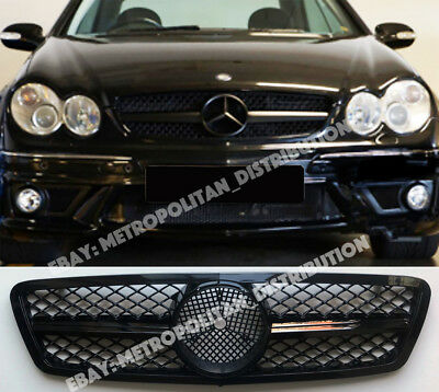 Mercedes C,w203,2001-07,single fin,central star AMG c63 grille,sport,gloss black