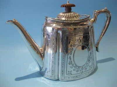 Very Nice Antique Large Silver Plated Victorian Hand-Engraved Oval Teapot