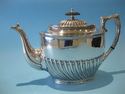 A Very Nice Antique Silver Plated Regency Style Oval Half Panel Tea Pot