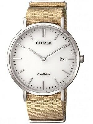Citizen Eco-Drive White Dial Sand Colored Nylon Band 38mm Watch AU1080-20A
