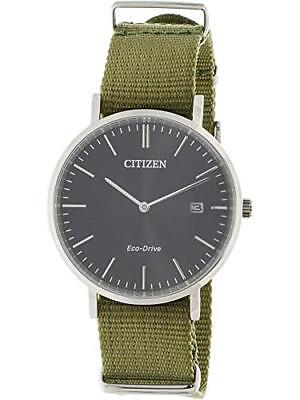 Citizen Eco-Drive Men's Black Dial Green Nylon Strap 38mm Watch AU1080-38E
