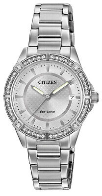 Citizen Eco-Drive Women's POV Crystal Accents Silver-Tone 34mm Watch FE6060-51A