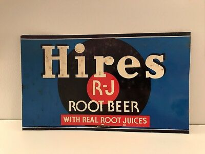 "Metal Sign Hires Root beer Tin Tacker Vintage collectible 1950's 12"" By 7"""