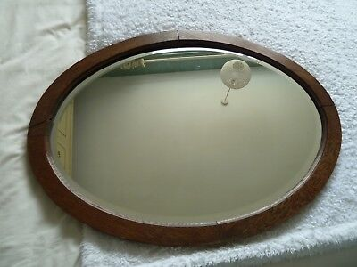 Large Victorian oval round wooden edged beveled wall mirror & hanging chain