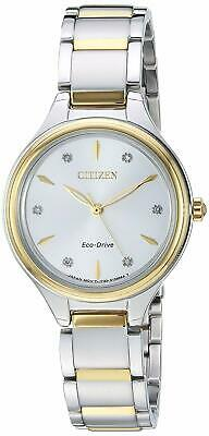 Citizen Eco-Drive Corso Women's Diamond Accents Two-Tone 29mm Watch FE2104-50A