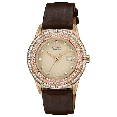 Citizen Eco-Drive Women's Crystal Accents Rose Gold Tone 35mm Watch FE1113-03A