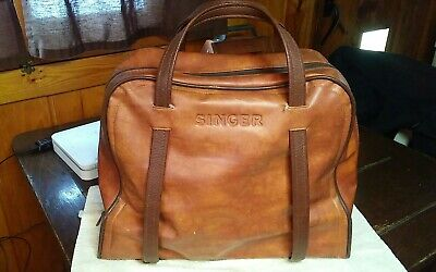 Vintage SINGER Sewing Machine Travel Vinyl Carry Case Storage Bag Faux Leather