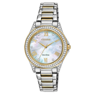 Citizen Eco-Drive Women's POV Crystal Accents Two Tone 34mm Watch EM0234-59D