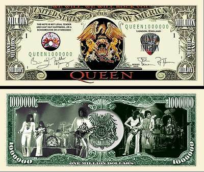 QUEEN BILLET 1 MILLION DOLLAR US ! FREDDIE MERCURY BRIAN MAY freddy Groupe Rock
