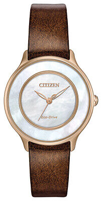 Citizen Eco-Drive Women's Rose Gold Case Leather Band 30mm Watch EM0383-08D
